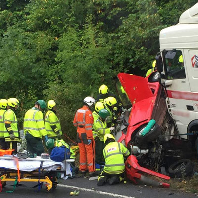 A SAVES doctor at a serious road traffic collision